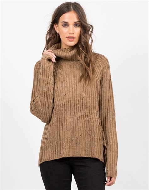 16689 Brown Turtle Neck Sweater chunky knit turtleneck sweater confetti print knit