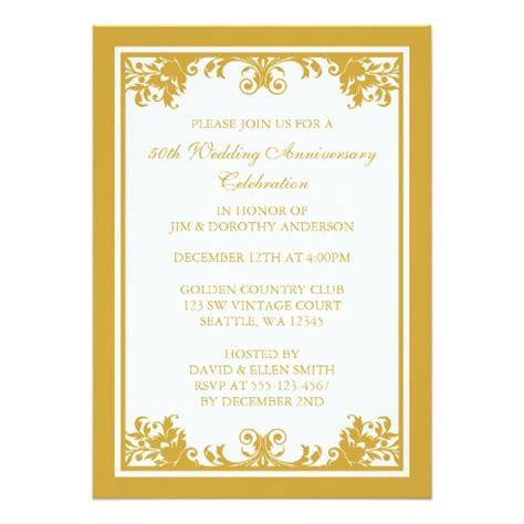 50th Wedding Anniversary Invitations Zazzle by 50th Wedding Anniversary Golden Flourish Scroll 5x7 Paper