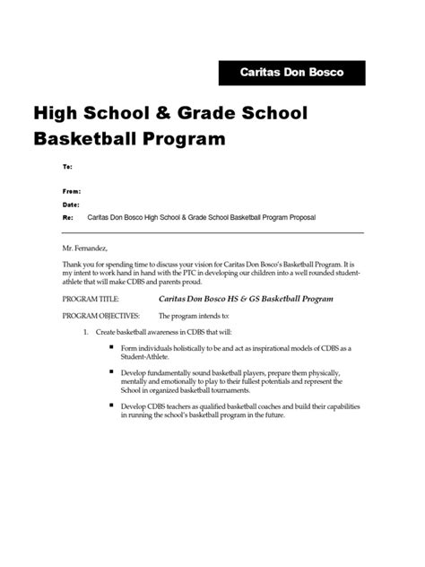Request Letter Using Basketball Court Sle Basketball Program Basketball
