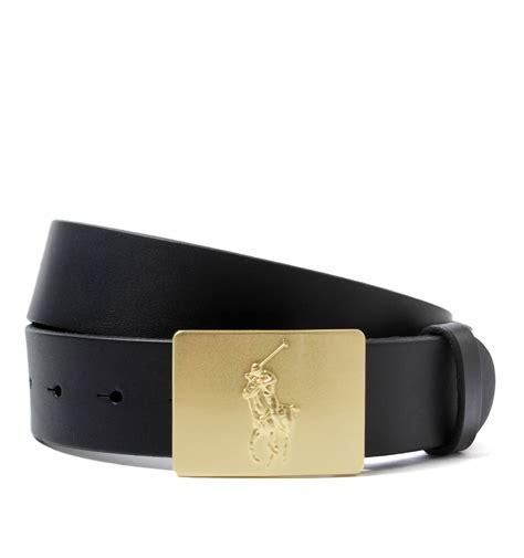 polo ralph polo plaque black leather belt