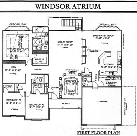 atrium home plans ranch floorplans