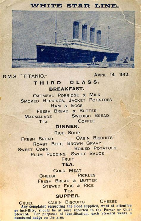 titanic third class menu what different classes ate on the titanic holy kaw