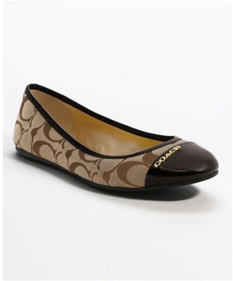coach flat shoes outlet coach darena flat in brown khaki chestnut lyst