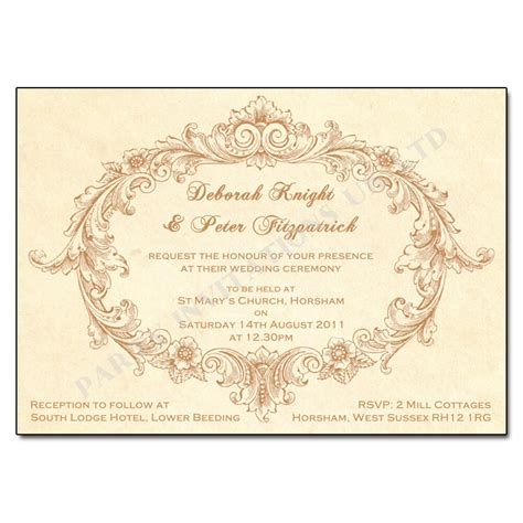 day wedding invites vintage filigree flourish wedding invitations