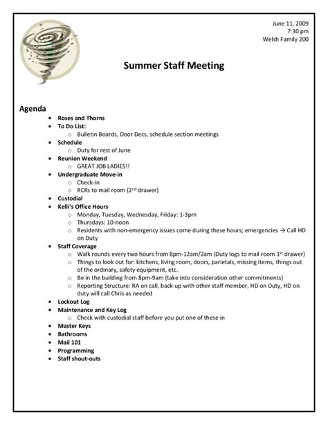 sle staff meeting agenda template 1 best agenda templates