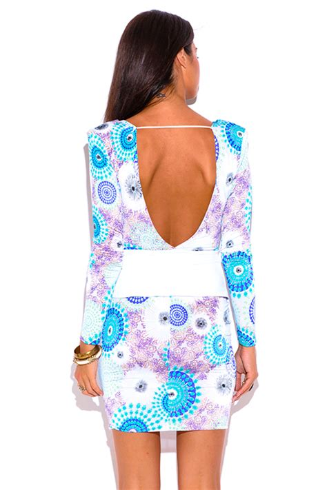 Ulviana Ethnic Peplum Mini Dress shop blue ethnic print sleeve v neck backless