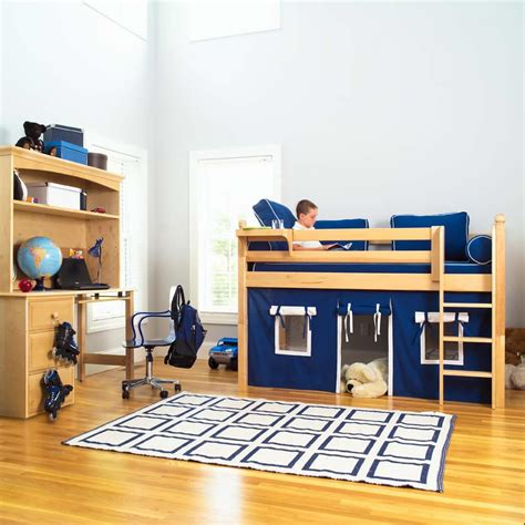 low loft beds for kids maxtrix kids twin low loft bed with underbed curtain