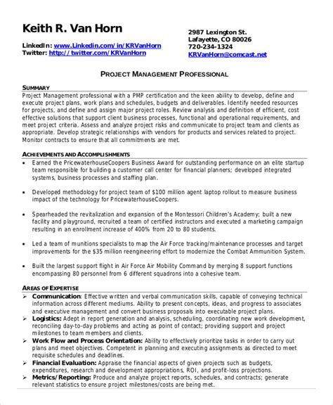 Project Management Resume by Project Management Resume Exle 10 Free Word Pdf
