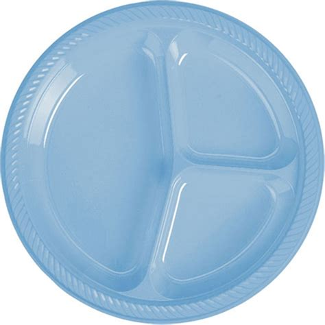 disposable sectioned plates baby blue divided plastic dinner plates