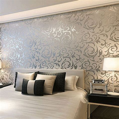 Floral Textured Damask Design Glitter Wallpaper For Living Wallpaper Design For Bedroom