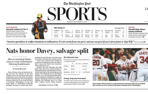 sports section newspaper washington post sports section