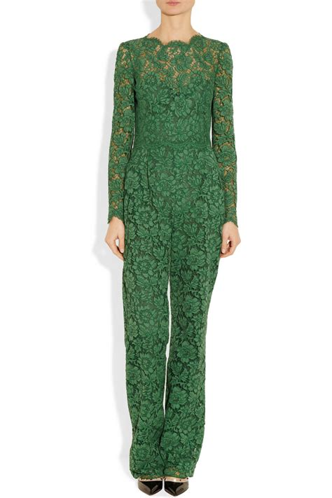 valentino cotton blend lace jumpsuit in green lyst