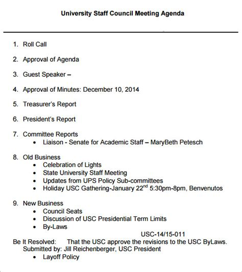 sle staff meeting agenda 5 exle format