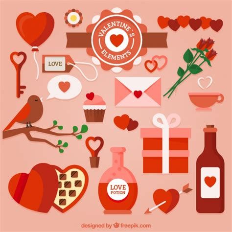 valentines day items selection of items for s day vector