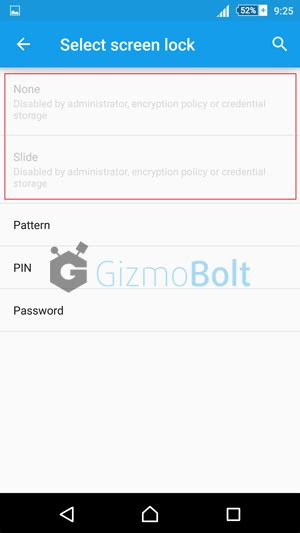 pattern lock none disabled by administrator xperia lockscreen disabled by administrator error fix