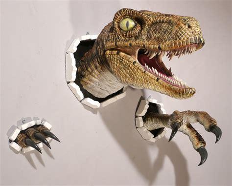 dinosaurier schlafzimmer accessoires realistic wallbursting velociraptor and claw set