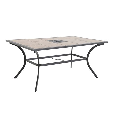 Tile Patio Tables Shop Garden Treasures Vinehaven 40 25 In W X 64 62 In L 6 Seat Brown Steel Patio Dining Table