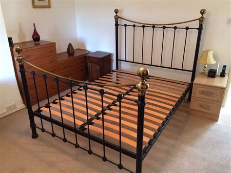 King Size Wood Bed Frame King Size Metal Bed Frame With Wooden Slats 163 65 53 Picclick Uk