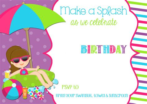 printable pool party decorations free printable pool party birthday invitation drevio