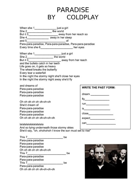 get busy testo song worksheet paradise by coldplay