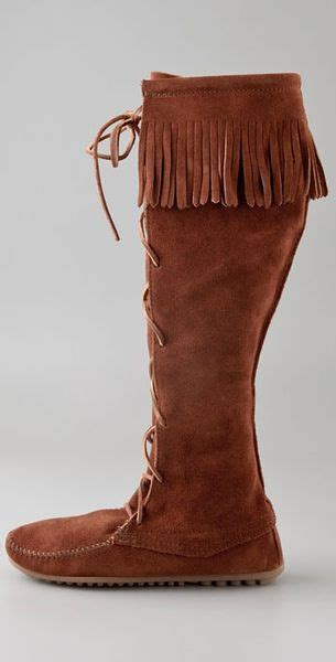 minnetonka front lace knee high boots in brown lyst
