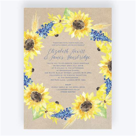 rustic sunflower wedding invitation from 163 1 00 each