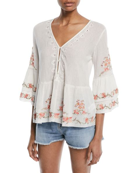 3 4 Sleeve Embroidered Blouse joie kamile 3 4 sleeve embroidered blouse neiman