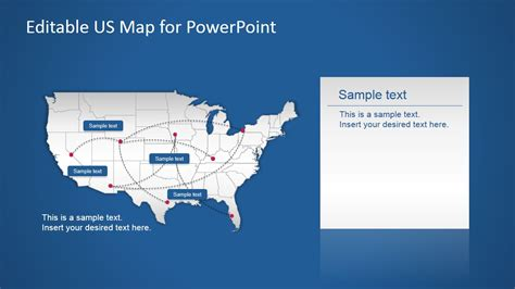 us powerpoint map with routes slidemodel