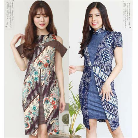 Dress Batik Jumbo Wanita 107pue batik dress modern blouse jumbo bigsize kantor cheongsam