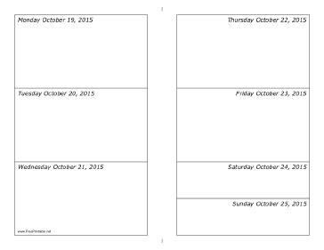 printable weekly calendar 2015 landscape printable 10 19 2015 weekly calendar horizontal