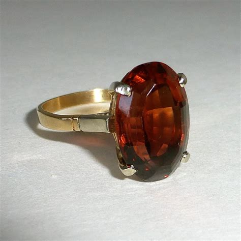Imperial Chagne Topaz 8 30ct genuine imperial topaz 18k yellow gold ring from