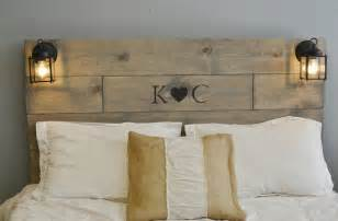 Beds With Footboards Rustic Wood Headboard With Custom Wood Engraved Initials And