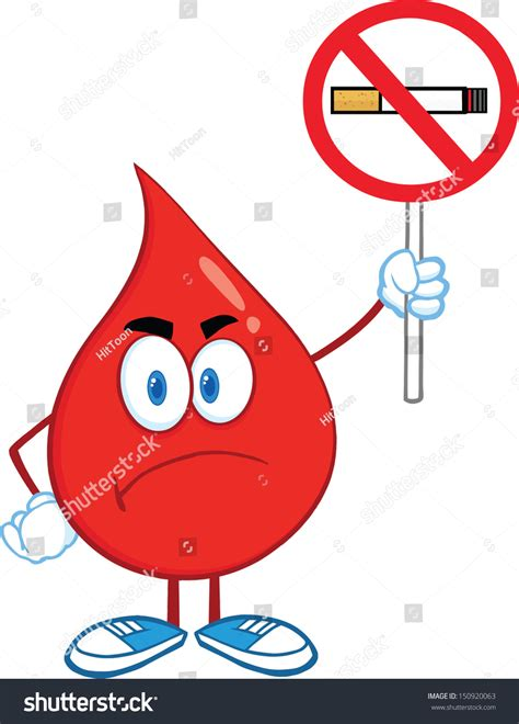 Dop Stop Plasma angry blood drop character stock illustration