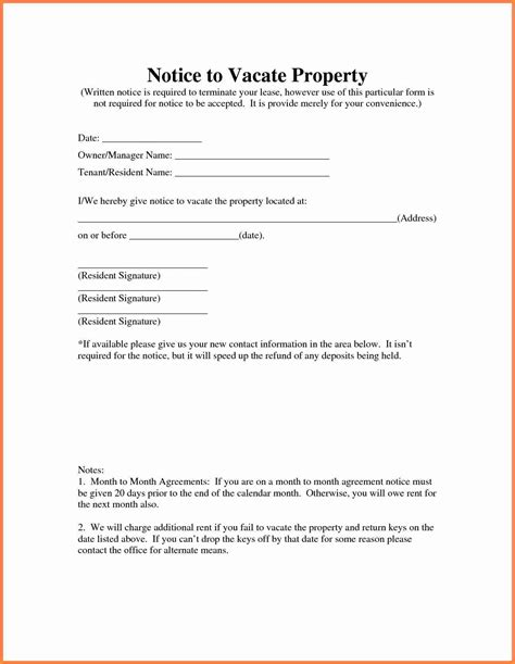 6 Tenant Vacate Notice Sle Notice Letter Notice To Vacate Template