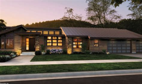 modern ranch houses front rendering rambler would have to add a finished