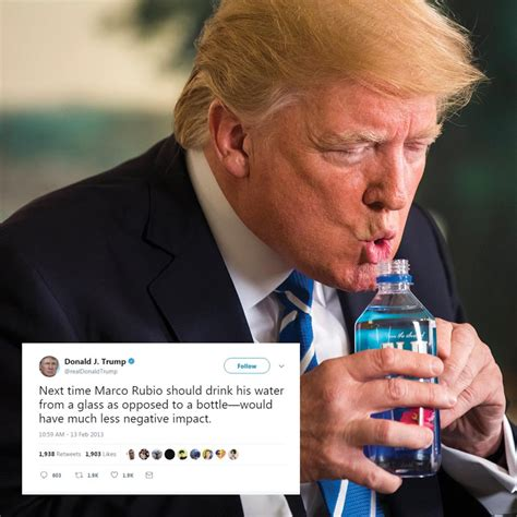 donald trump water water wally trump uses two hands to drink like a baby