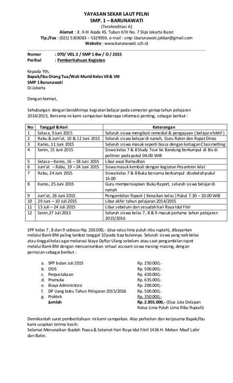 Contoh Surat Undangan Kegiatan by Contoh Surat Pemberitahuan Kegiatan