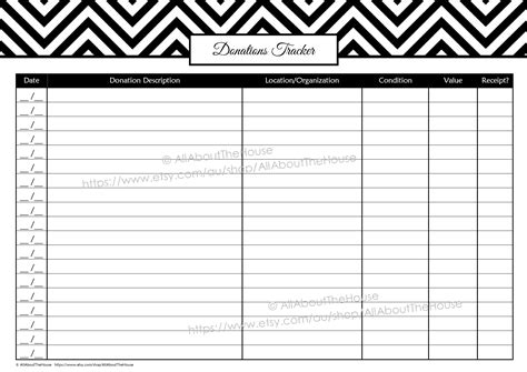 donation tracker template garage sale planner allaboutthehouse printables