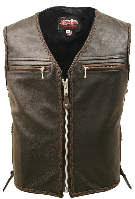 leather vest men s motorcycle leather vest brown black braiding
