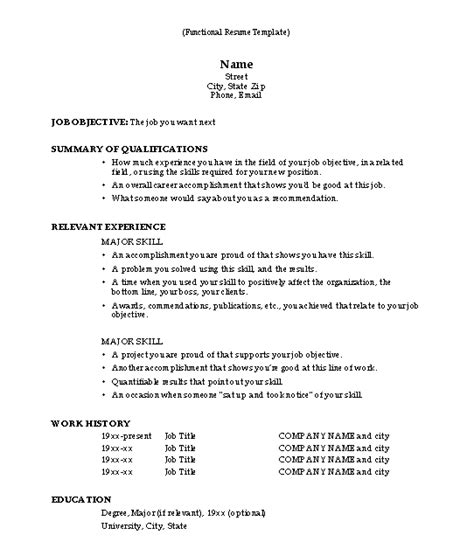 functional resume template pinteres