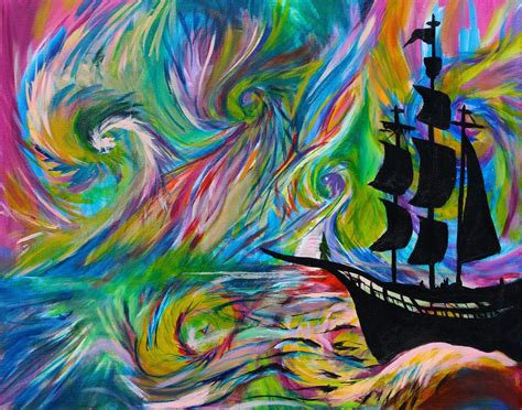 handmade painting psychedelic ship pirate ship
