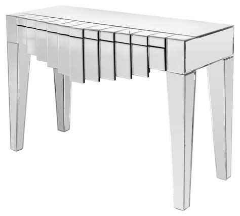 mirrored console tables with drawers brooklyn mirrored single drawer console table modish