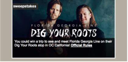 Georgia Sweepstakes - cmt florida georgia line s dig your roots flyaway sweepstakes sun sweeps