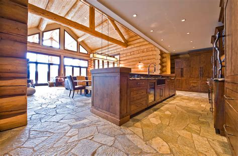 ranch log home traditional kitchen by sitka log homes