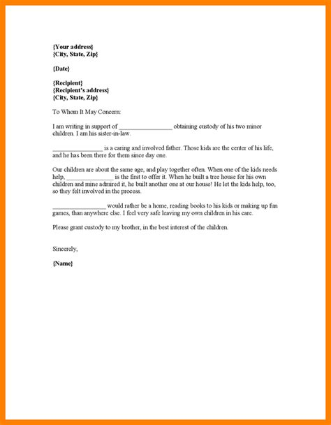 Custody Agreement Letter Exle 9 Child Custody Letter Sle Science Resume