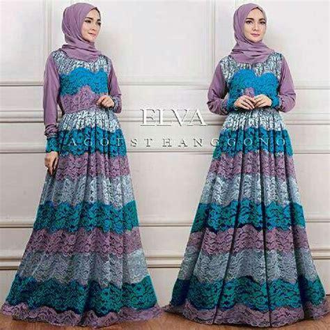 Baju Muslim Gamis Syari Murah Fauzia Set Ungu model baju gamis brukat modern terbaru setelan modis