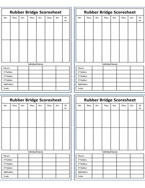 rubber bridge score sheet free download