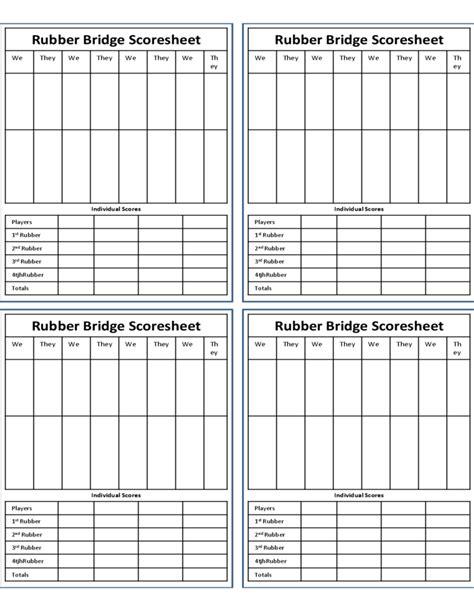 28 bridge score cards template rubber bridge score