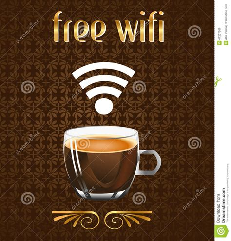 Poster 127 Coffee by Coffee Poster With Free Wifi Message In Vector Eps Stock