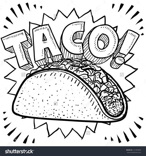 coloring pages mexican food mexican tacos clipart 66